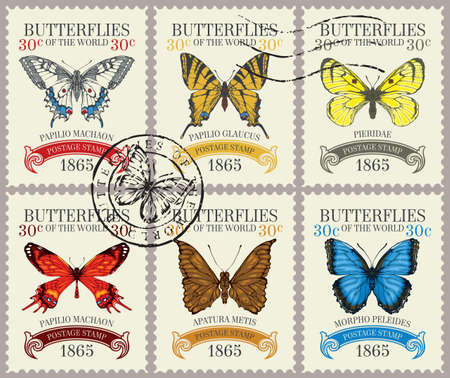 Set of old postage stamps with various bright beautiful butterflies and their names on a light background. Vector postage stamps with postmark in retro style