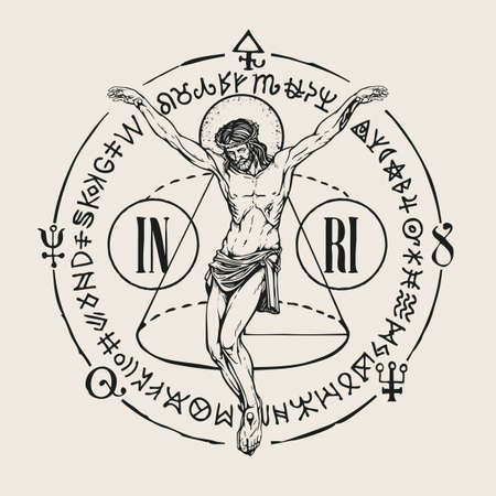 Hand-drawn crucifix of Jesus Christ with alchemical and Masonic symbols. Abstract vector banner in retro style on the religious theme with cryptic signs written in a circle