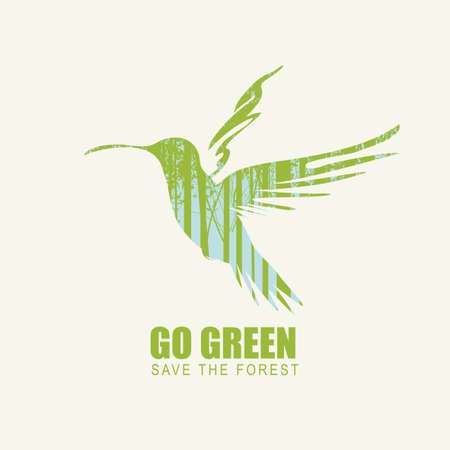 Creative illustration on the theme of environmental protection with the words Go green, Save the forest. Vector poster in the form of hummingbird with silhouettes of trees. Eco Poster Concept Vektorové ilustrace