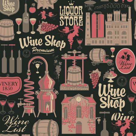 Seamless pattern on the theme of wine shop and wine production with drawings and inscriptions in retro style on the black background. Suitable for Wallpaper, wrapping paper, textile, fabric 矢量图片