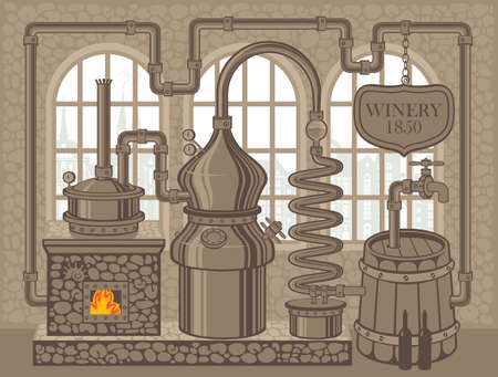 Vector banner for winery with an old winemaking equipment in retro style. Decorative illustration of winery plant for the production of wine in an old stone building