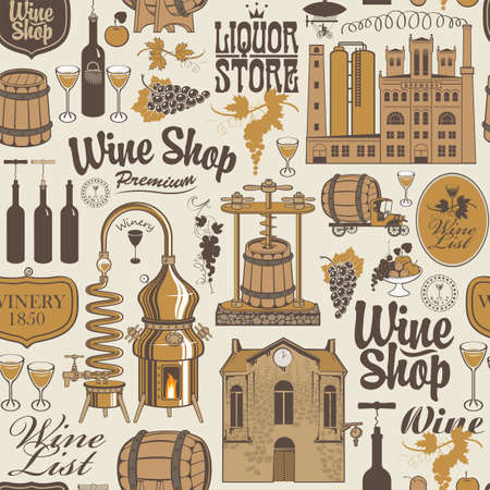 Seamless pattern on the theme of wine shop and wine production with drawings and inscriptions in retro style. Suitable for Wallpaper, wrapping paper, textile, fabric, background