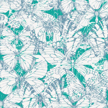Monochrome seamless pattern with butterflies in grunge style on an emerald backdrop. Abstract vector repeatable background. Suitable for Wallpaper, wrapping paper, fabric, textiles, clothing