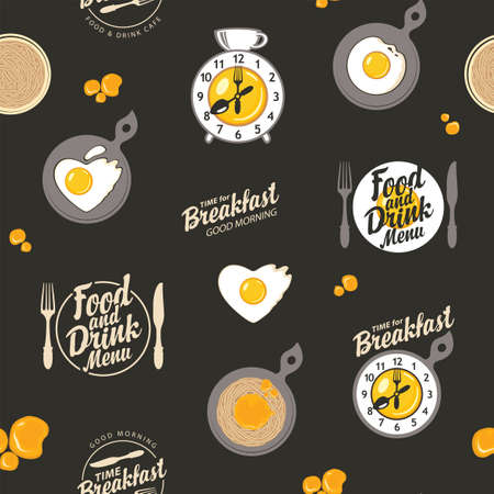 Vector seamless pattern on the theme of breakfast with scrambled eggs, pasta, alarm clock and inscriptions on a black background in retro style. Suitable for wallpaper, wrapping paper or fabric
