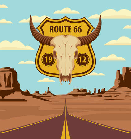 US Historic Route 66. A road sign with a skull of bull on the background of an endless highway and an American desert with mountains. Vector landscape with an empty straight road on sandy wasteland