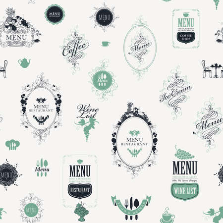 Seamless pattern on the theme of restaurant or cafe menu in vintage style. Repeating vector background with ornate frames, curlicues, fruits, inscriptions and elegant design elements