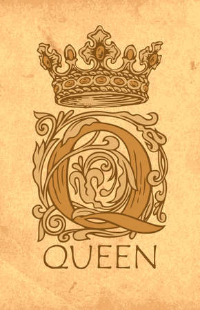 Vintage monogram with an ornate initial letter Q, hand-drawn crown and inscription Queen. Beautiful capital letter Q with baroque decorations on an old paper background.