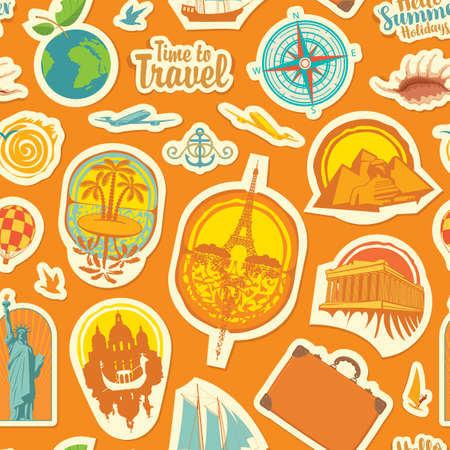 Seamless pattern on the theme of travel and vacations. Repeating vector background with stickers or magnets from various countries on an orange backdrop in retro style