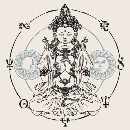 Banner with a meditating Buddha seated in the lotus position. Decorative vector illustration of hand-drawn Buddha, Moon and Sun inside a circle with buddhist signs. Awakened and enlightened Illustration