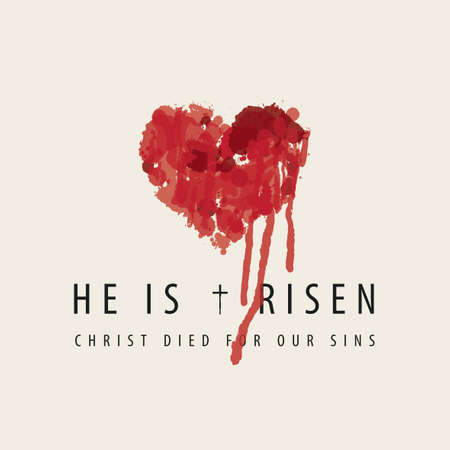 Religious banner or greeting card on the Easter theme with words He is risen, Christ died for our sins. Vektoros illusztráció