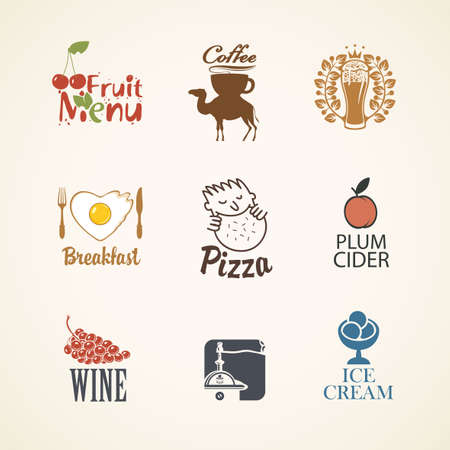 Set of icons, labels, stickers or badges on the theme of food and drink. Vector emblems for breakfast menu, fruit, coffee, beer, wine, cider, pizza in retro style on a light background
