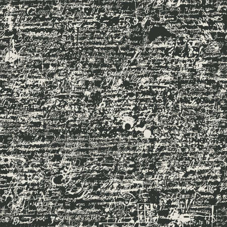 Abstract seamless pattern with handwritten scribbles and ink spots, imitation of script on a dark background. Repetitive vector illustration, suitable for wallpaper, wrapping paper, textiles