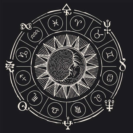 Vector circle of Zodiac signs with icons, hand-drawn Sun and Moon on a black background. Monochrome banner in retro style with horoscope symbols for astrological forecasts. Chalk drawing Vektorgrafik