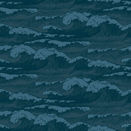 Vector seamless pattern with hand-drawn waves in vintage style. Decorative repeating background with dark blue storm waves of the sea or ocean, breakers of seafoam