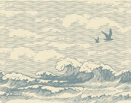 Vector seamless pattern with hand-drawn seascape with waves, seagulls and clouds in the sky. Decorative repeating illustration of sea or ocean, water waves on an old paper background in retro style