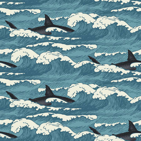 Vector seamless pattern with hand-drawn waves and sharks in retro style. Decorative repeating illustration of sea or ocean, blue storm waves with sea foam and passing killer whales