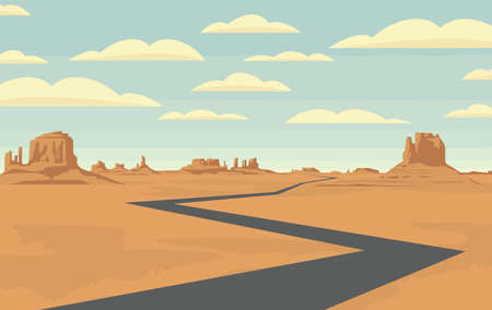 Decorative landscape with an empty road in the desert with mountains and clouds in blue sky. Vector illustration of a road in form of broken line running through the barren American scenery Ilustração Vetorial