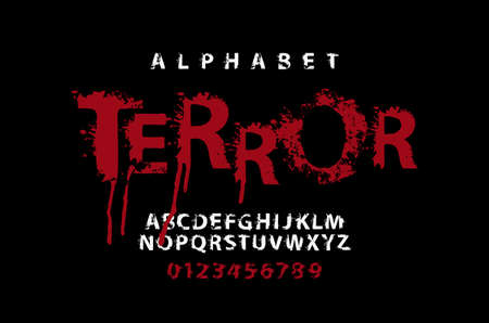 TERROR lettering in scary dripping bloody letters. Vector set of white alphabet letters and numbers in grunge style on a black background. Splash Alphabet. Horror font for headline, poster, label