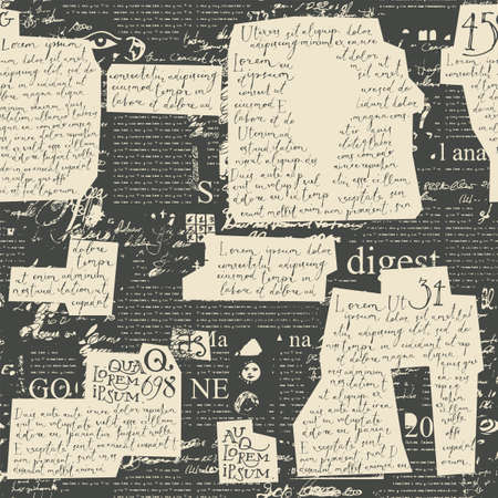 Abstract seamless pattern with old paper inserts with handwritten text Lorem Ipsum on a black newspaper page backdrop. Vector background in retro style