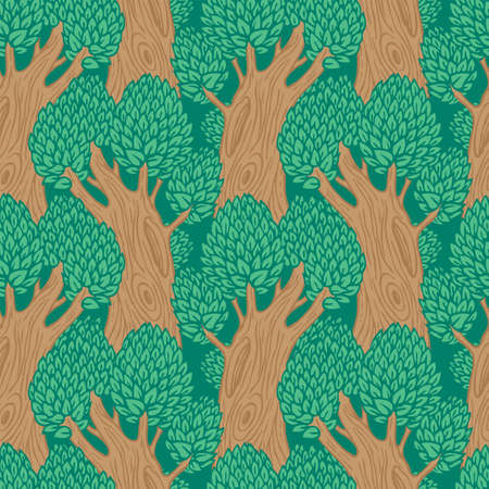 Seamless pattern with old stylized trees. Vector background with beautiful forest in a flat cartoon style. Deciduous trees with lush green foliage and hollows on thick brown trunks