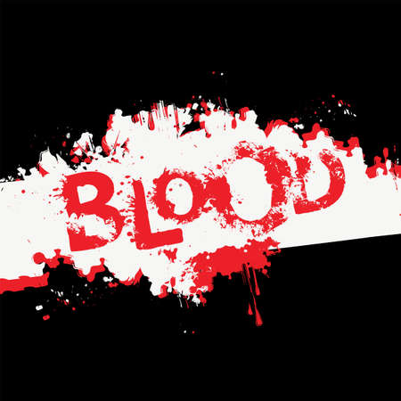 BLOOD lettering with scary letters and bloody streaks on an abstract black and white background. Vector banner, the inscription with red splatters and stains of blood or paint. Halloween party style