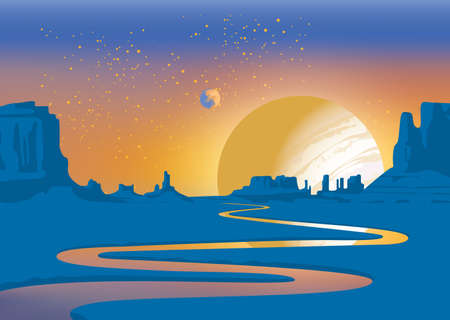 A landscape of an alien planet with a deserted valley, a winding river, rocks and a view of two planets in the sky. Colored vector illustration of a lifeless scenery. Fantastic space background