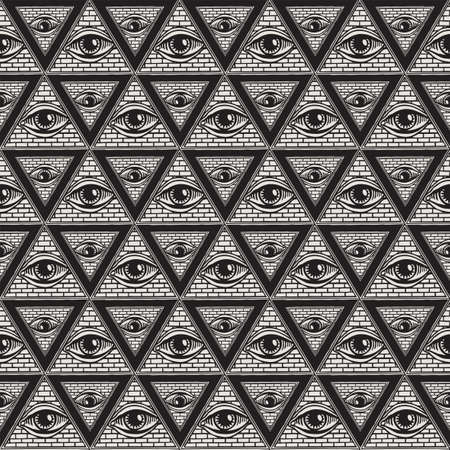 Geometric seamless pattern with All-seeing eye inside triangle pyramid. Vector hand-drawn background on the occult or alchemical theme with the third eye. Symbol Omniscience