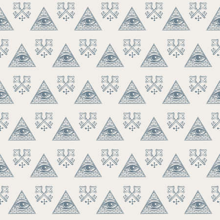 Vector seamless pattern with an all-seeing eye and old crossed keys on a light backdrop. The sacred masonic Symbol. Geometric repeating background with a third eye inside a triangular pyramid