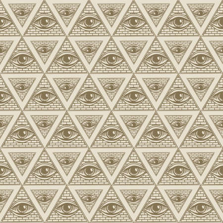 Seamless pattern with All-seeing eye inside triangle pyramid. Vector background with hand-drawn Eye of Providence. Symbol Omniscience. Luminous Delta. Ancient mystical sacral illuminati symbol