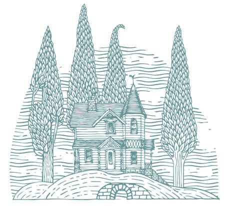 Decorative illustration with a log country two-story house and slender trees on a hill. Contour drawing of a beautiful old building and garden in cartoon style. Hand-drawn vector landscape