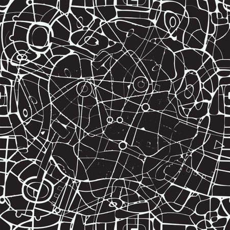 Seamless pattern in the form of an abstract black and white city map. Vector repeating background with a schematic roads plan. Decorative urban texture, wallpaper design, wrapping paper, fabric