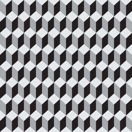 Seamless pattern of gray 3 dimensional cubes. Repeating geometric tiles with cubes. Optical illusions. Vector monochrome background. Suitable for wallpaper, wrapping paper, fabric
