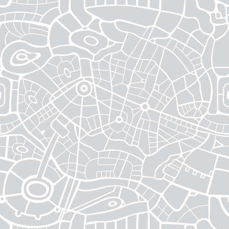 Seamless city map pattern. Vector repeating background with a schematic road map of an abstract city on a gray backdrop. Decorative urban texture, suitable for wallpaper design, wrapping paper, fabric Vector Illustratie