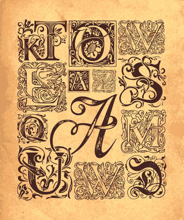 Set of ornate initial letters with vintage baroque ornamentation. Hand-drawn capital letters on an old paper background.