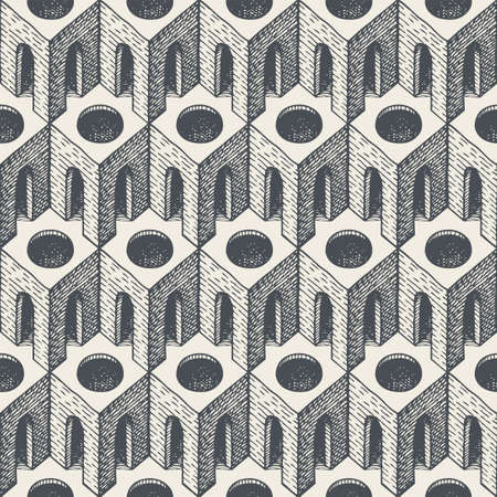 Seamless pattern with hand-drawn architectural elements. Repeating vector texture with 3D cubic elements, arches, and round holes. Monochrome geometric background, wallpaper, wrapping paper, fabric Vetores