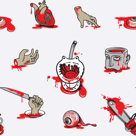 Seamless pattern with horrible cartoon pictures in a puddles of blood on a light backdrop. Repeating vector background on a halloween theme with severed hands and head, torn out human heart and eyes Vektorgrafik