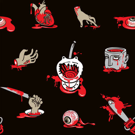 Seamless pattern with horrible cartoon pictures on a black backdrop. Scary vector background on a halloween theme with severed hands and head, torn out human heart and eyes in a puddles of blood Vektorgrafik