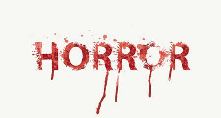 HORROR lettering in scary dripping bloody letters on a light background. Vector illustration in the form of an abstract grunge inscription with red blots, splashes and smudges. Halloween party style Ilustración de vector
