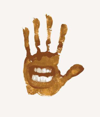 Vector banner with a brown handprint with a human mouth on the palm, isolated on a white background. Abstract illustration with an evil grin and a dirty hand print in retro style Vetores