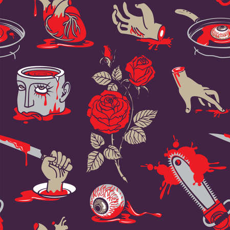 Scary seamless pattern with terrible pictures in a bloody puddles on a dark backdrop for halloween party design. Cartoon vector background with torn out human heart and eyes, severed head and hands Vektorgrafik