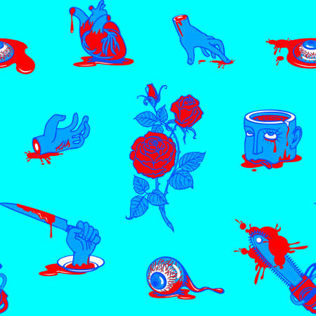 Seamless pattern with horrible cartoon pictures in a bloody puddles on a blue backdrop. Repeatable vector background with torn out human heart and eyes, severed hands and head. Halloween party style
