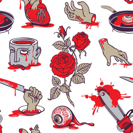 Seamless pattern with severed head and hands, torn out human heart and eyes in a bloody puddles. Repeating vector background with terrible pictures for Halloween party design in cartoon style Vektorgrafik