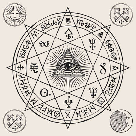 Vector illustration with an all-seeing eye inside octagonal star, Masonic, alchemical and esoteric symbols. Hand-drawn banner or mascot in the form of a circle with a third eye, magic runes and signs