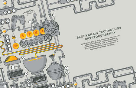 Bitcoin production concept. Factory conveyor of crypto currency mining. Blockchain technology. Graphic vector illustration with industrial equipment and place for text. Digital money and e-commerce 矢量图像