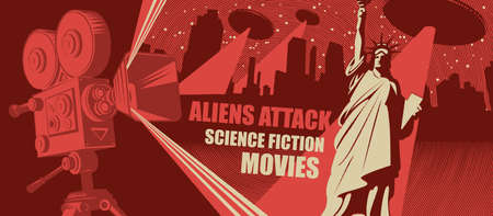 Cinema poster, banner, flyer, ticket to science fiction movies. Vector illustration with an old movie projector, night cityscape and flying saucers with a bright beams aimed at a Statue of liberty