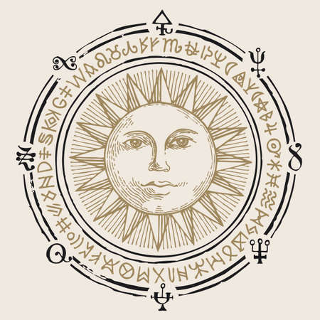 Vector illustration with the hand-drawn Sun and esoteric symbols on an old beige background. Retro style banner, mascot or amulet in the form of a circle with magic signs and runes 矢量图像