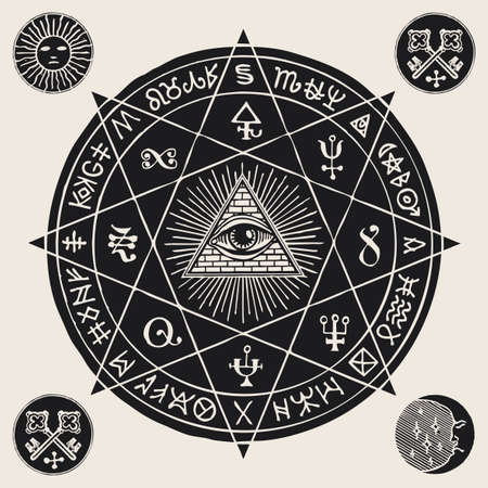 Hand-drawn illustration with an all-seeing eye inside octagonal star, alchemical, Masonic and esoteric symbols. Vector banner or mascot in the form of a circle with a third eye, magic signs and runes