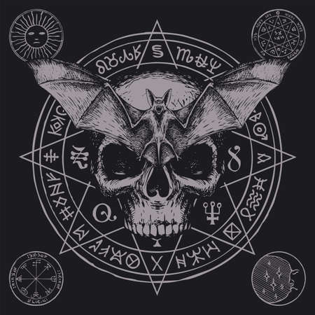 Hand-drawn scary human skull, bat with open wings and magic symbols written in a circle on a black background. Witchcraft, occult attributes, esoteric signs. Vector banner with flying vampire