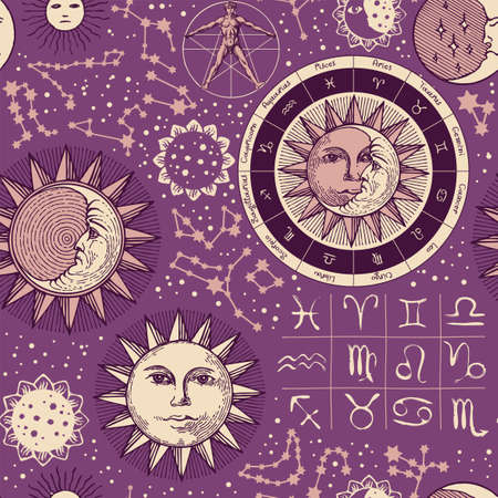 Seamless pattern on the theme of zodiac and horoscopes. Hand-drawn vector background with sun, moon, stars, constellations and human figure like Vitruvian man on a purple backdrop in retro style 矢量图像