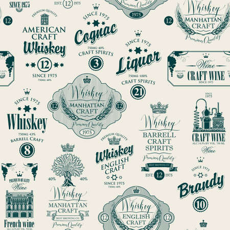 Vector seamless pattern with labels for various alcoholic beverages in retro style. Monochrome repeating background with drawings and inscriptions whiskey, liquor, cognac, wine, brandy, craft wine. 矢量图像